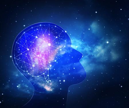 Concept de l & # 39 ; intelligence humaine avec le cerveau humain à l & # 39 ; intérieur du fond Banque d'images - 84790487
