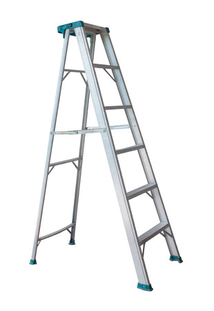 Metal ladder isolated on white background.