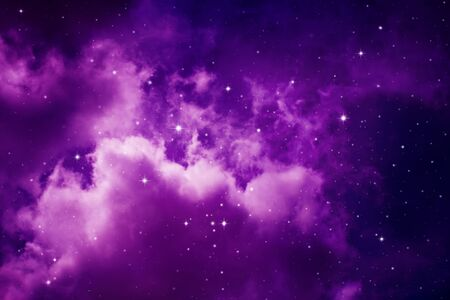 Space of night purple sky with cloud and stars.