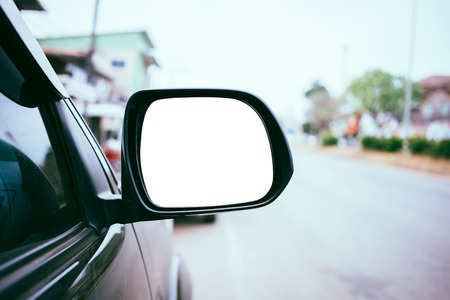 side rear-view mirror of a car. Stock Photo