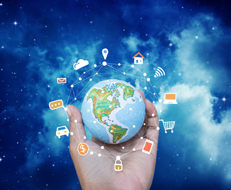Internet Network globe with social media,www symbol for web site elements. Stock Photo
