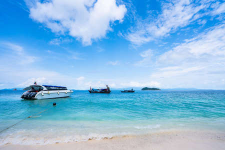 Boat on the beach. Summer holiday and vacation concept background ,tropical landscape. Stock fotó