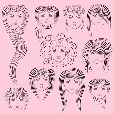frizzy: Samples of female hairstyles.  illustration hand drawing