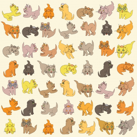 Set of various small colored cartoon kittens, editable illustration Vector