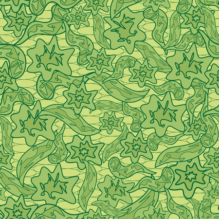 Abstract floral camouflage green pattern. Hand drawing seamless vector illustration Vector