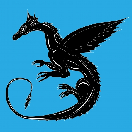 Black dragon on the blue background during the flight. Hand drawing vector illustration with editable background Vector