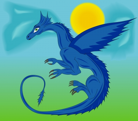 Blue dragon during the flight against the background of sky, sun and clouds. Hand drawing cartoon vector illustration Vector