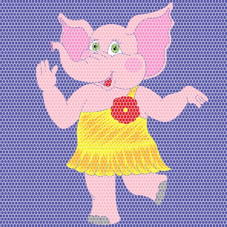 tessellate: Mosaic broidered work image of joyful pink elephant in a yellow dress on a blue background. Handcrafted vector illustration