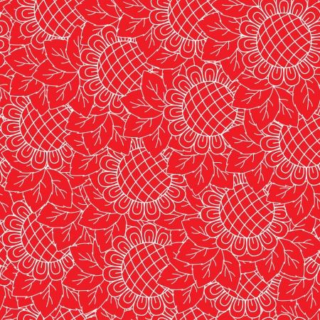Girasoles de color rojo y blanco de fondo sin fisuras. Dibujo a mano ilustración vectorial Foto de archivo - 21323006