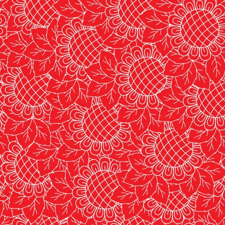 Sunflowers red and white seamless background. Hand drawing vector illustration Vector