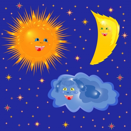 triad: Sun, Moon and Cloud on the background of starry sky. Hand Drawing Cartoon Vector Illustration Illustration