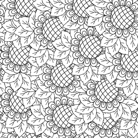 bicolor: Sunflowers black and white seamless background. Hand drawing vector illustration