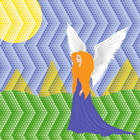 tessellate: Woman angel on colorful landscape mosaic background. Hand drawing vector illustration