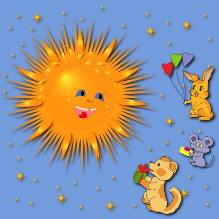 Mouse, Rabbit and Puppy are greeting a smiling Sun. Hand drawing greeting card illustration illustration