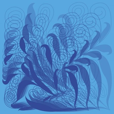 Abstract floral vector hand drawing pattern in blue with transparency Vector