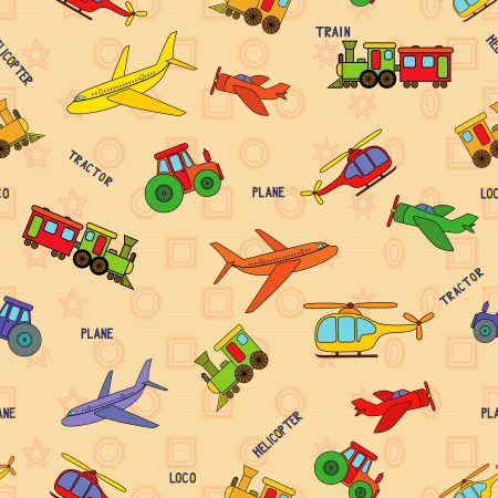 Seamless transport technique pattern with locomotive, airliner, airplane, helicopter, train, tractor and their titles. Background can be used as a separate seamless pattern Vector