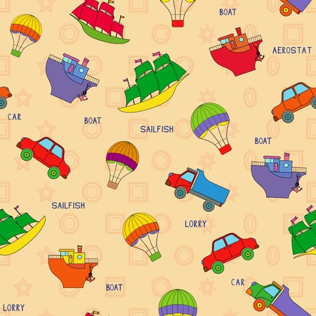 aerostat: Seamless various transport technique pattern with car, lorry, boat, sailfish, aerostat and their titles. Background can be used as a separate seamless pattern