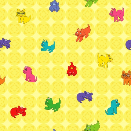 jointless: Seamless vector pattern of colorful various cartoon kittens. Background can be used as a separate seamless pattern