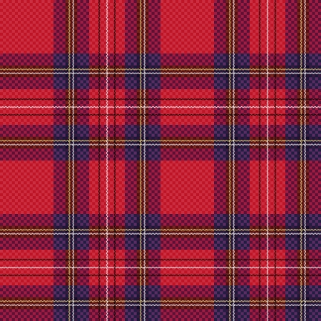 Seamless checkered shades of red and blue vector pattern as a tartan plaid Illustration
