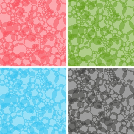 Abstract four different colors seamless vector patterns of translucent spherical bubbles Vector