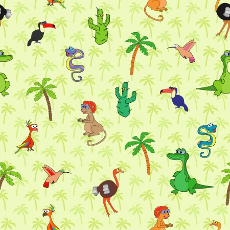 Seamless various south animals and plants pattern with cartoon cactus, monkey, ostrich, hummingbird, crocodile, boa, palm, toucan and parrot  Background with palms can be used as a separate seamless pattern Stock Vector - 22300822