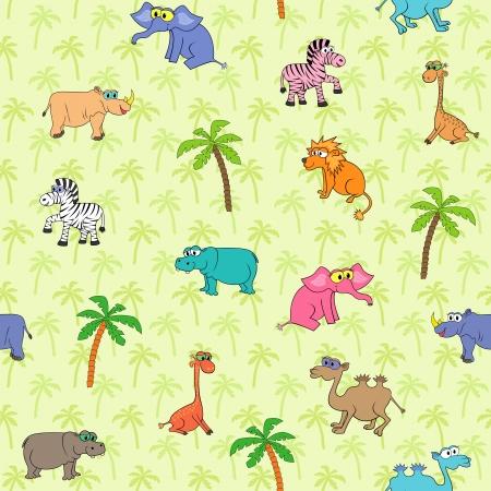 Seamless different south animals and plants pattern with cartoon elephant, camel, zebra, rhinoceros, hippopotamus, lion, giraffe and palm   Vector