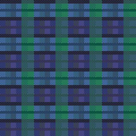 Seamless checkered dark blue with green vector pattern as a tartan plaid Vector