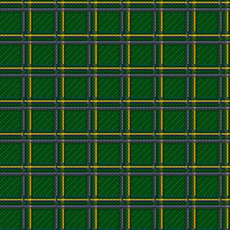 Tartan plaid fabric green checkered texture, seamless pattern Vector