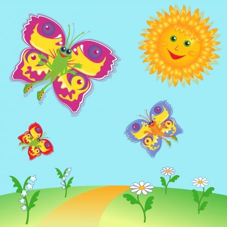 sun flower: Colorful cartoon fairy butterflies flying near a Sun over meadow  Hand drawing vector illustration