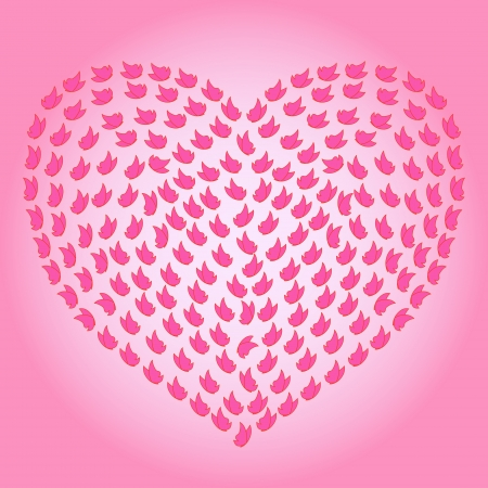 Heart with many small butterflies on the pink background as a love symbol, hand drawing vector illustration Vector