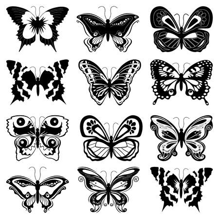 farfalla tatuaggio: Serie di dodici sagome di farfalle nere su fondo bianco, disegno a mano illustrazione vettoriale