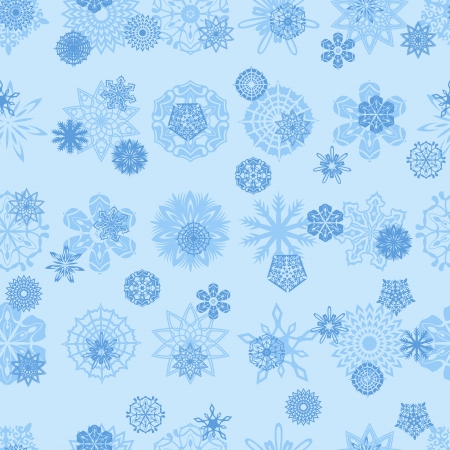 jointless: Blue different snowflakes on a blue background, hand drawing seamless vector illustration