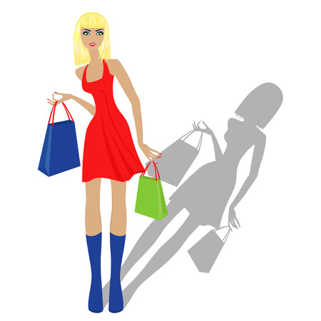 Fashionable blond model in red dress with shopping bags, hand drawing vector illustration isolated on white background