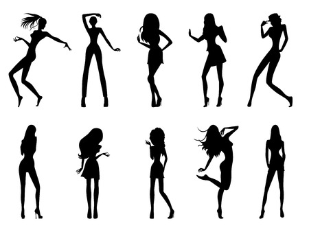 Set of eight black silhouettes of fashion posing models isolated on white background, hand drawing vector illustration