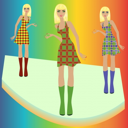 Stylish fashion blond models posing on in various checkered dresses, hand drawing vector illustration Illustration