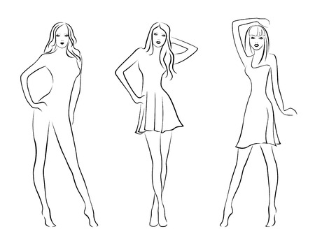 Three elegant fashion models isolated on white background, hand drawing black and white vector illustration Vector