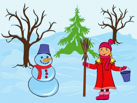 drifts: Child girl and snowman among the trees and snow drifts, hand drawing cartoon vector illustration