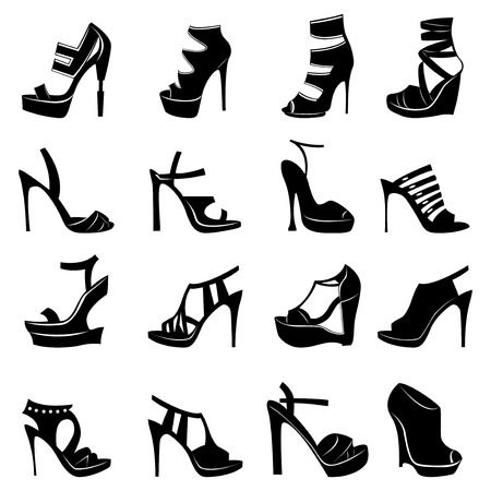 Collection of sixteen different models of stylish women footwear isolated on white background, hand drawing silhouette vector illustration Vector