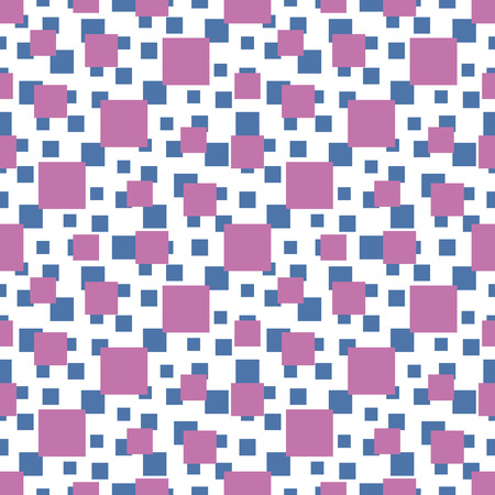 Seamless vector pattern with blue and magenta squares of different sizes Vector