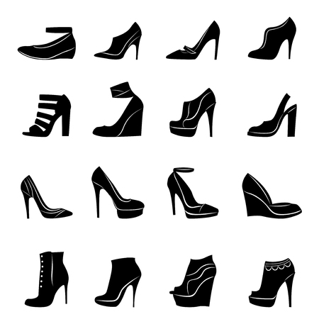 stylish women: Sixteen different models of stylish women footwear isolated on white background, hand drawing vector illustration Illustration