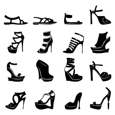 Collection of sixteen silhouettes of different stylish women footwear models, B&W hand drawing vector illustration Vector