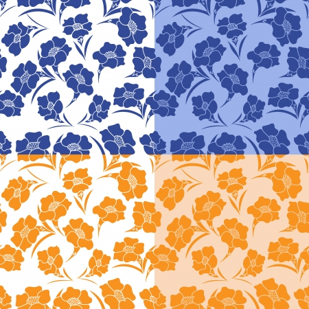 identical: Four identical seamless herbal patterns in different colors, hand drawing vector illustration