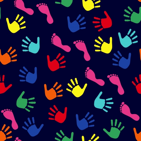 Seamless vector pattern with colorful imprints of children's hands and feet on a dark blue background Vector