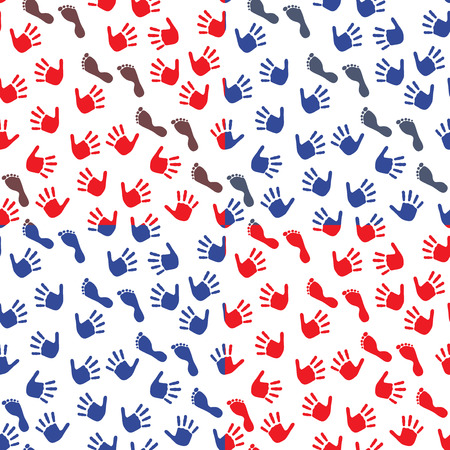 Four seamless vector pattern with colorful imprints of childrens hands and feet on a white background Vector