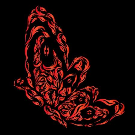fiery: Red fiery butterfly on the black background Illustration
