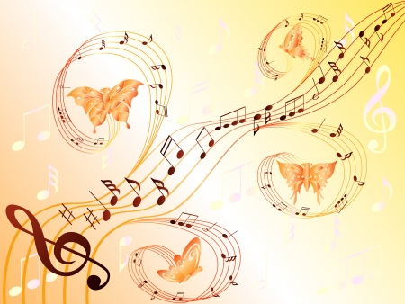 Various musical notes on stave and butterflies flying along, hand drawing stylized vector illustration Vector
