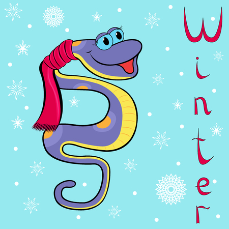 constrictor: Why Boa is so cold in winter  Cheerful Boa Constrictor wrapped in a scarf on neck on the background of a winter motif  Hand drawing cartoon vector illustration