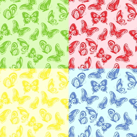 Four seamless colourful pattern with butterflies, hand drawing vector illustration Vector