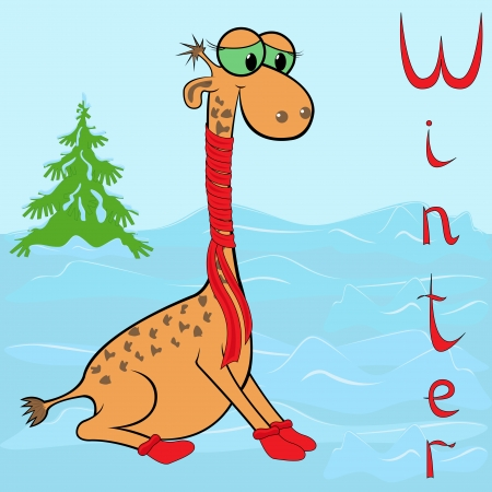 Why Giraffe is so cold in winter  Cheerful Giraffe wrapped in a scarf on neck on the background of a winter landscape  Hand drawing cartoon vector illustration Vector