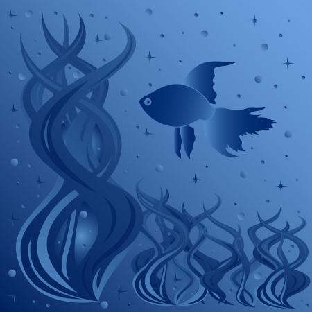 tints: Composition of fish floating around aquatic plants, phantasmagoric hand drawing vector illustration in blue tints